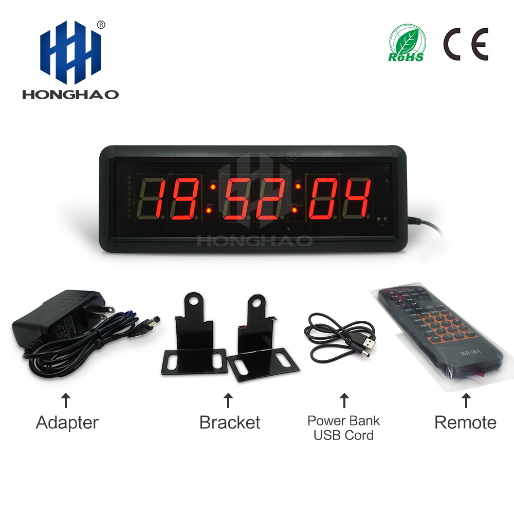 Honghao LED Countdown Timer Wall Clock Real Time Clock For Meeting Match Countdown Display