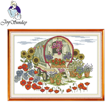 Joy Sunday,Flower car,cross stitch embroidery set,printing cloth kit,cross needlework,cross