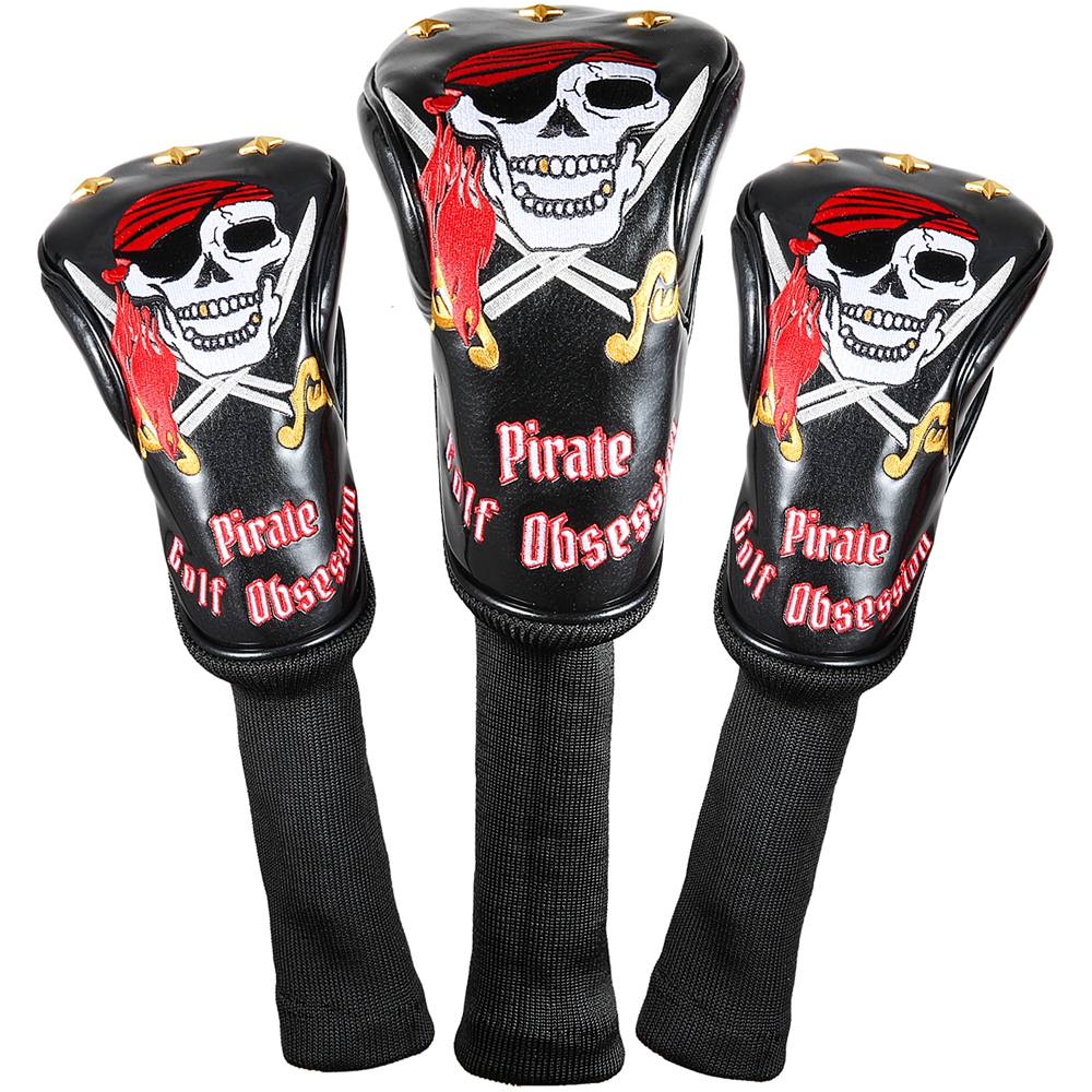 Siranlive Pirate #1 #3 #5 H Golf Wood Headcovers 4PC/Set 460CC Driver/Fairway Wood/Hybrid PU Leather Head Covers Set