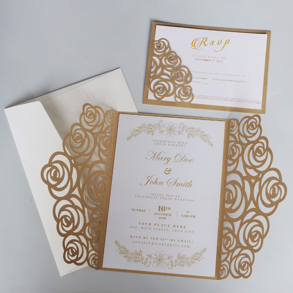 Luxury Wedding Invitations.Us 106 25 15 Off Gold Rose Wedding Invitations Luxury Wedding Invite Shiny Invitation Cards With Customized Wording Set Of 50 Pcs In Cards