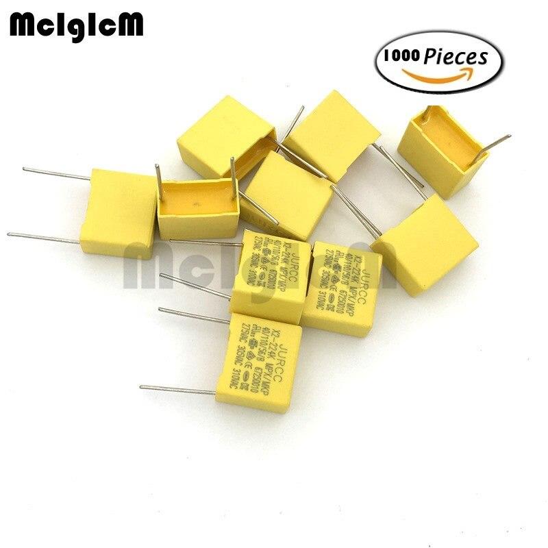 MCIGICM 1000pcs 0.01uF ~ 2.2uF Capacitor X2 Capacitor 275VAC Pitch 7.5MM ~ 27.5MM X2 Polypropylene Film Capacitor