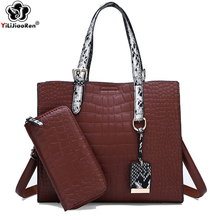 Luxury Crocodile Pattern Women Handbags Set Brand Leather Crossbody Bags for Fashion Large Capacity Tote Bag Bolsa