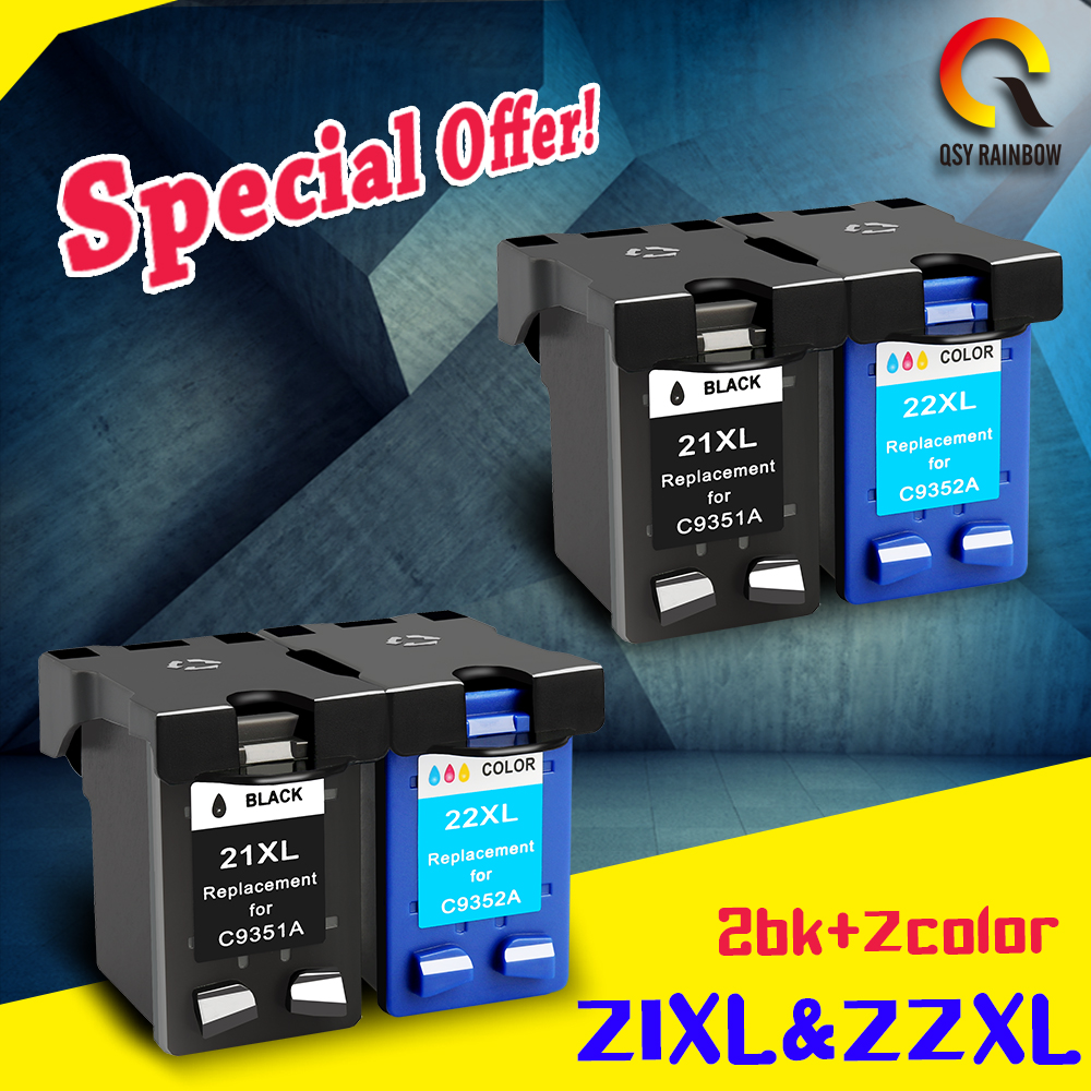 2 sets 2bk 2c For HP 21 22 ink cartridge ( C9351A C9352A ) 21XL 22XL for HP Deskjet 3915 1530 1320 1455 F2100 F2180 F4100 F4180 applicable for hp ink cartridge for hp 21 22 cartridges deskjet f300 f310 for hp 21xl 22xl factory direct