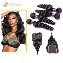 Unprocessed Lace Closure With 4 Bundles Human Hair Weaves 7A Rosa Cheap Peruvian Virgin Hair Loose Wave With Free Part Closure