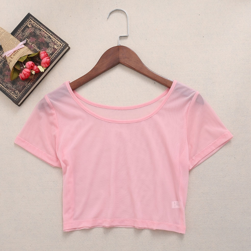 ec65fdd2fb63 2018 summer fashion 5 Colors Women Semi-transparent Mesh Crop Tops Girl Short  Sleeve T