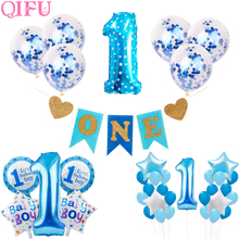 QIFU First Birthday Boy Party Decor 1st Decorations Kids 1 Year Baby Shower