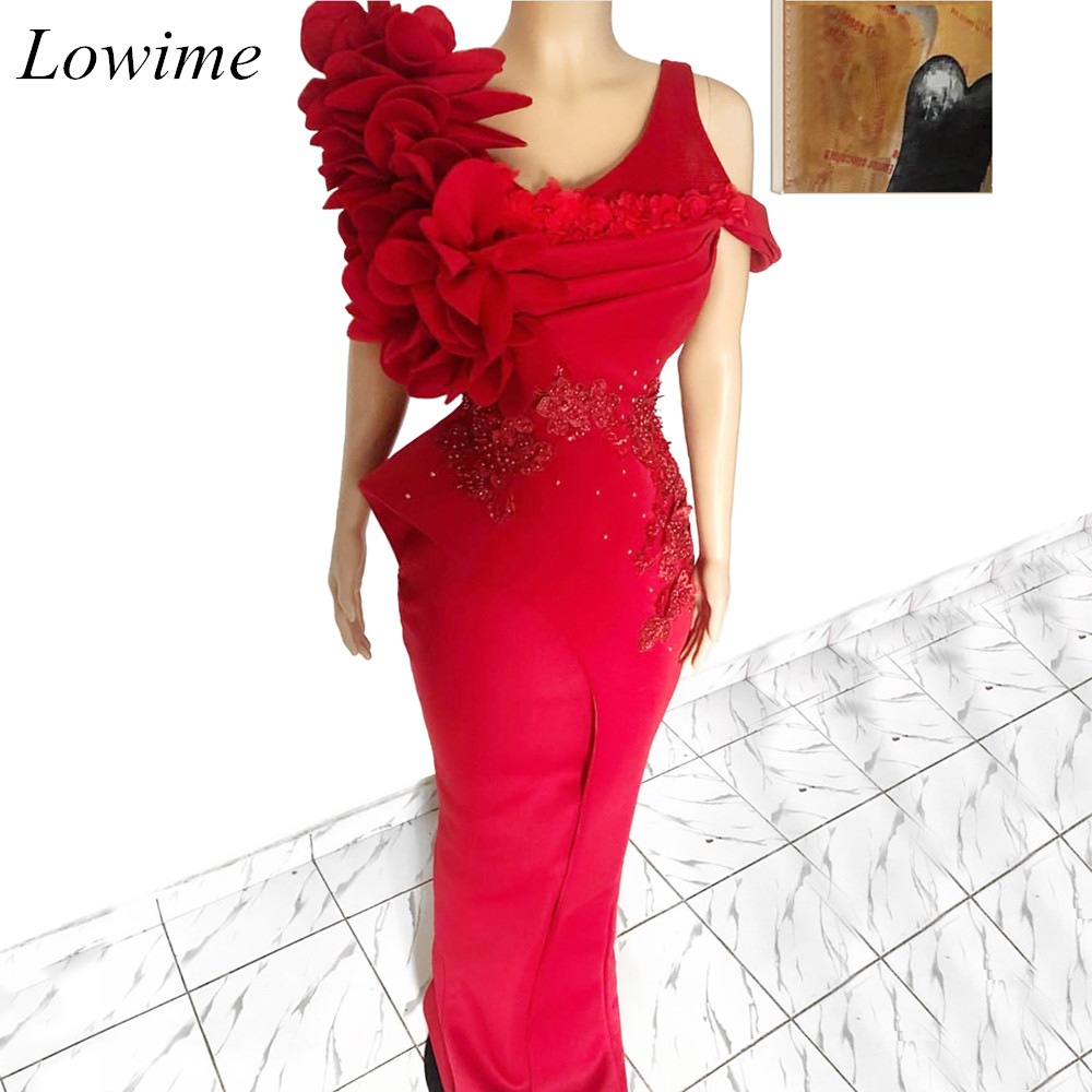African Special Red   Prom     Dresses   Long Mermaid Pearls Evening Party   Dress   Formal Abendkleider Sexy Vestido De Fiesta Ceremony