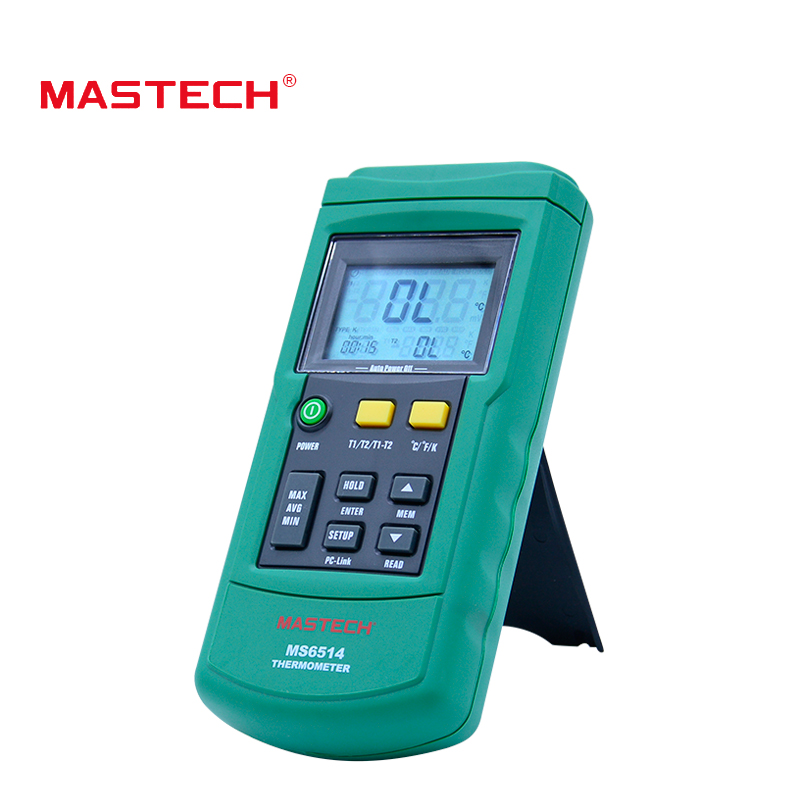 MasTech MS6514 Digital Thermometer Dual Channel Temperature Logger Tester USB Interface 1000 Sets Data KJTERSN Thermocouple ms6514 dual channel digital thermometer temperature logger tester usb interface 1000 sets data kjtersn thermocouple with box