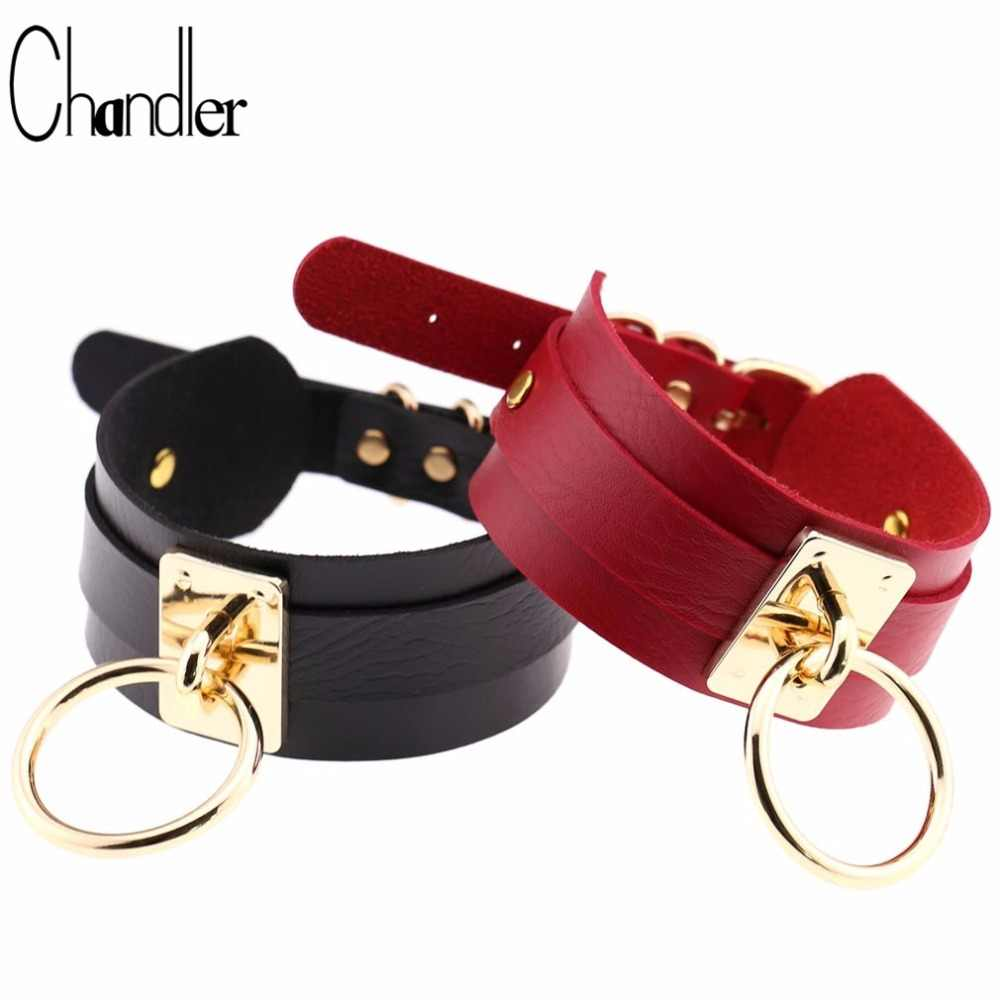 Chandler 2018 Women Men Jewelry Cool Punk Goth Rivet Choker Necklace Wide Leather Collares Round Metal Pendant Anime Necklaces