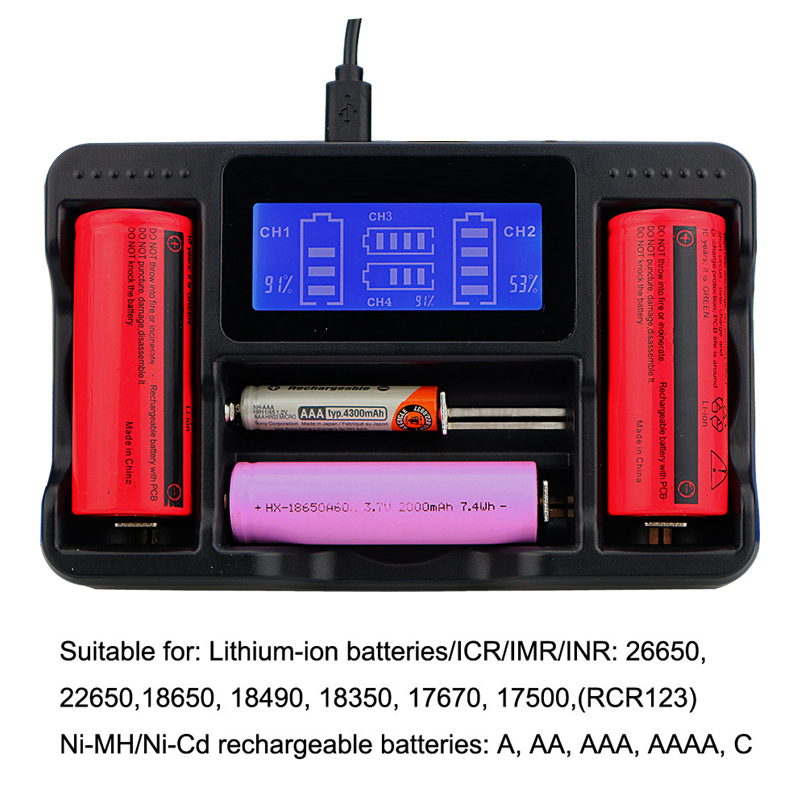 все цены на 4 Slot LCD Intelligent Charge Lithium Ion Battery Charger For 14500 16340 26650 18650 battery Smart Charger онлайн