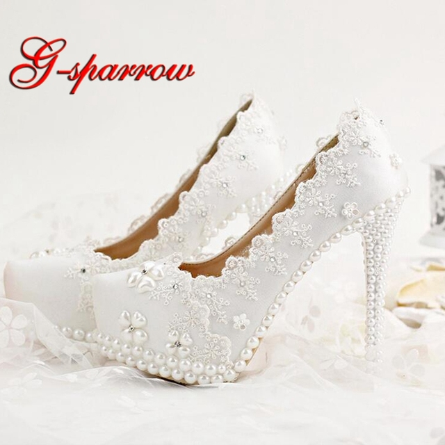 Korean Rhinestones Bridal Shoes White Lace Wedding Shoes Spring Lady High  Heels Beautiful Bridesmaid Shoes Party 3becc53ef960