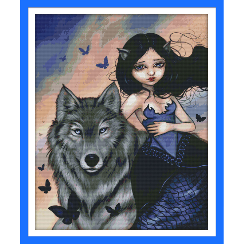 Everlasting love Wolf and girl Chinese cross stitch kits   Ecological cotton stamped 11CT DIY  gift new year decorations for  homePackage