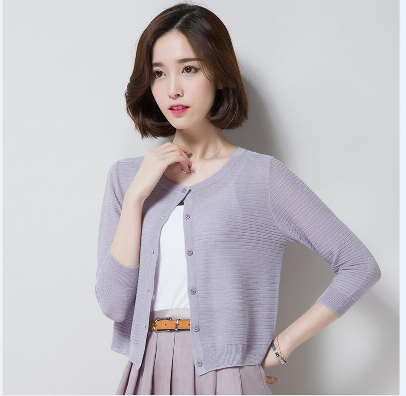 Women's Summer & Spring Linen Cardigan Ladies Simple Style Knitwear Casual V-neck Long Sleeve Hollow Out Thin Knitted Cardigan