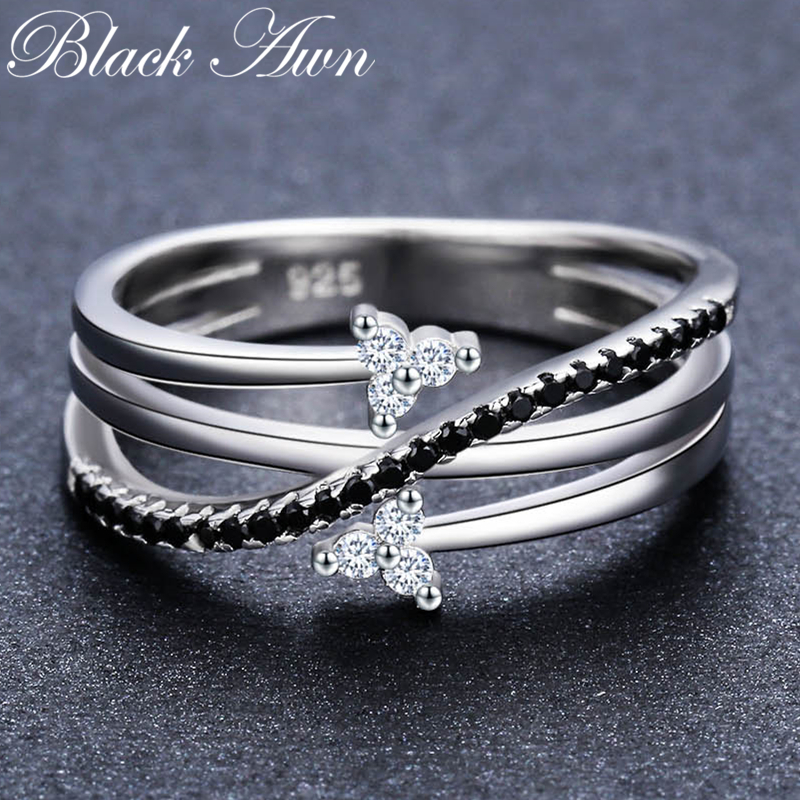[BLACK AWN] 925 Sterling Silver Jewelry Rings For Women Trendy Hollow Finger Ring G005