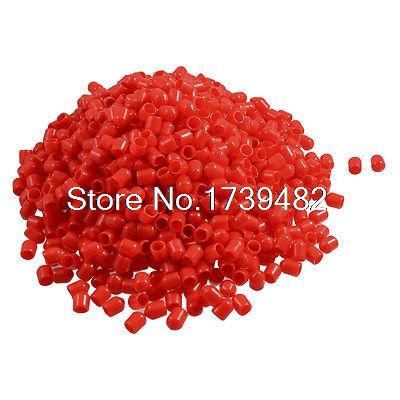 1000 Pcs 6mm Inner Diameter Red PVC Slip Pipe End Caps Covers Fittings