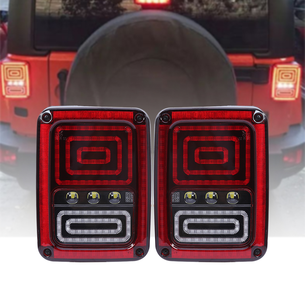 2Pcs LED Tail Lights Brake Lamp 2th Generation US for Jeep Wrangler 07-16/07-15 Auto Rear Turn Signal Reverse Backup Taillight 2pcs tail light lamp 4th generation eu for jeep wrangler 07 17 led bar brake running reverse taillight car styling accessories