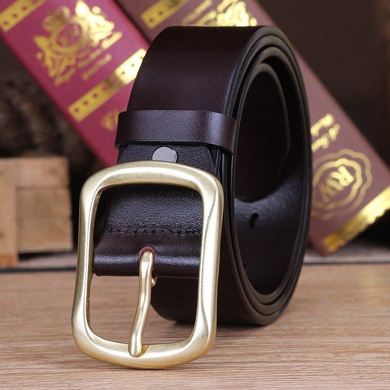 Men's Belt, Leather Needle Button, Pure Copper Button, Men's Head Layer, Pure Cowhide, Leisure Belt