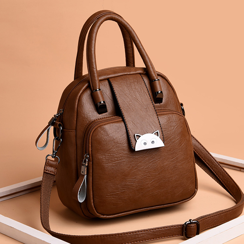 Women Leather Backpacks Cat Female Shoulder Bag Sac A Dos Travel Ladies Bagpack Mochilas School Bags For Girls Preppy