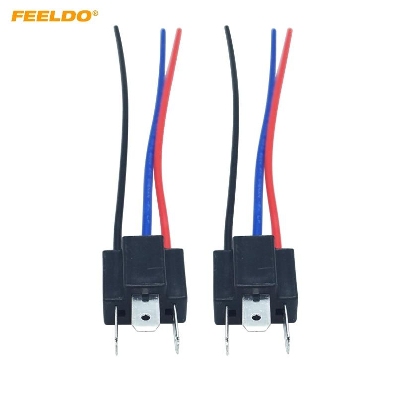 FEELDO 2pc Car H4 Male Nylon Socket Case For Halogen Headlamp Pigtail Connector Holder #HQ5453