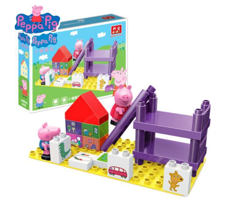 Genuine peppa pig deluxe playhouse blocos jogar casa com peppa george figura acessórios-9327, números (14 peças), 2 bonecas