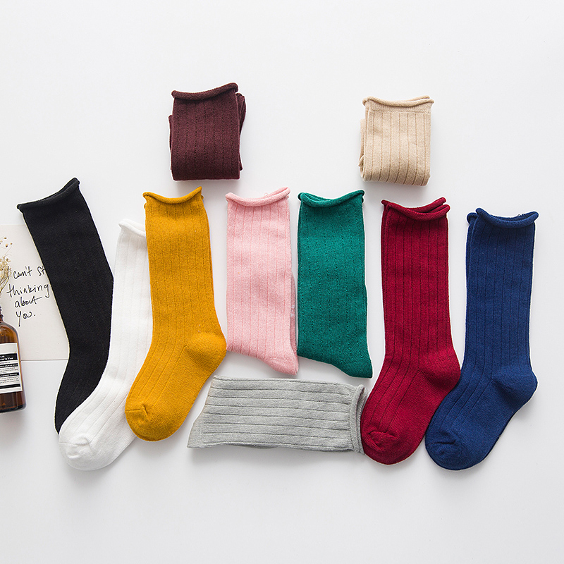 Spring/Autmn/Winter Fashion Baby Cotton Long Socks Kids Boys Girls Solid Color 1-10years Old C907