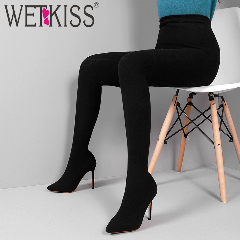 WETKISS FlyKnit Sexy Female Fashion Leggings Boots Stretch Trousers Women Shoes Stiletto Heel Sock Boots Two
