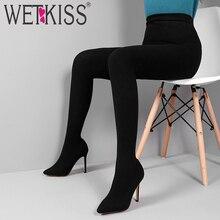 Wetkiss sexy moda feminina leggings botas de estiramento calças femininas sapatos stiletto calcanhar meia botas dois em um calças botas