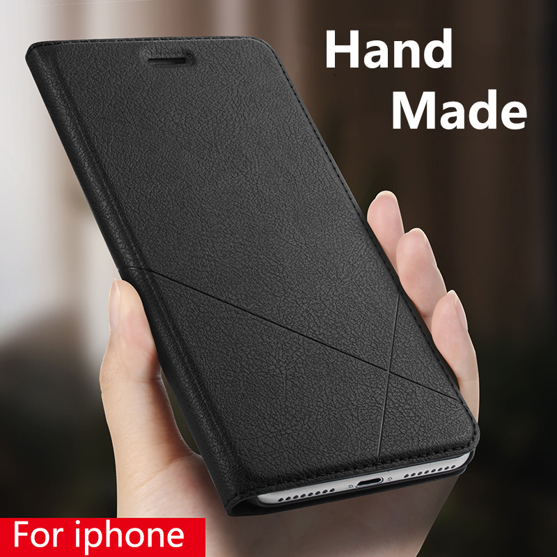 Hand Made For Apple <font><b>iphone</b></font> Xs Max Xr X 8 Plus 7 Plus 6 <font><b>6s</b></font> Plus <font><b>Leather</b></font> <font><b>Case</b></font> For <font><b>iphone</b></font> 5 5s SE PU Flip Cover Card Slot Stand image