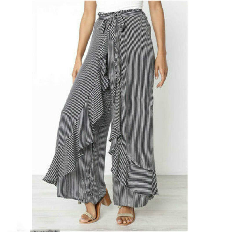 Women Summer Fashion Elegant Ruffles Striped   Wide     Leg     Pants   High Waist Ladies Long Trousers
