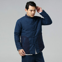 Winter New chinese style men s jacket high quality brand cotton linen outwear male casual cotton