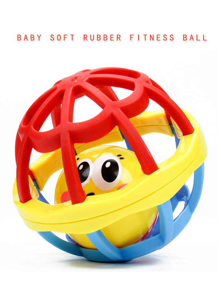 Baby Holding Soft Rubber Ball Plastic Rolling Rattles Baby Toy Hand Holding Bell Ball Infant Teaching Educational Toys Fitness