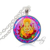 Indian lord Geneisha pendant silver chain Hindu Geneisha photo necklace pink lotus mandala flower zen pendant Hinduism jewelry