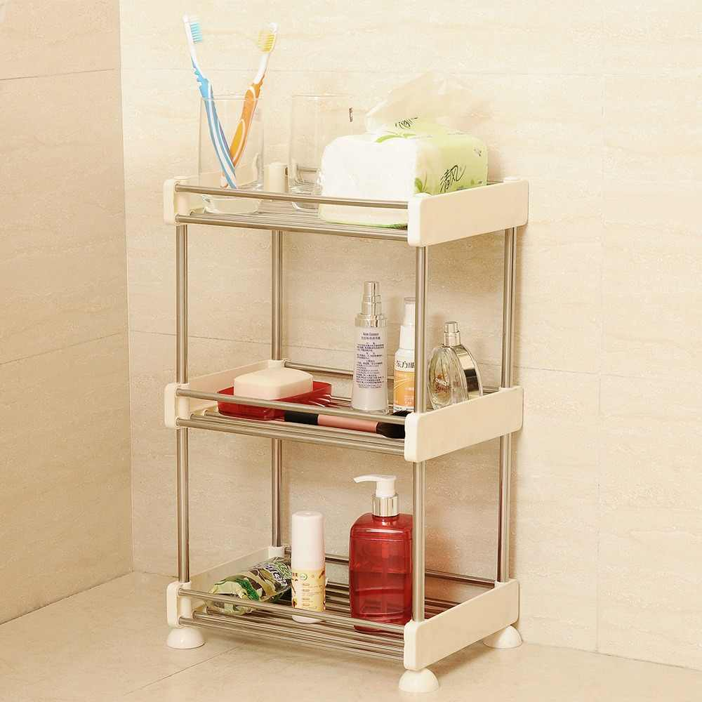 2/3/4 Layer Gap Storage Rack Kitchen Removable Assembly Stainless Steel Plastic Bathroom Shelf Drainable Space-saving Organizer