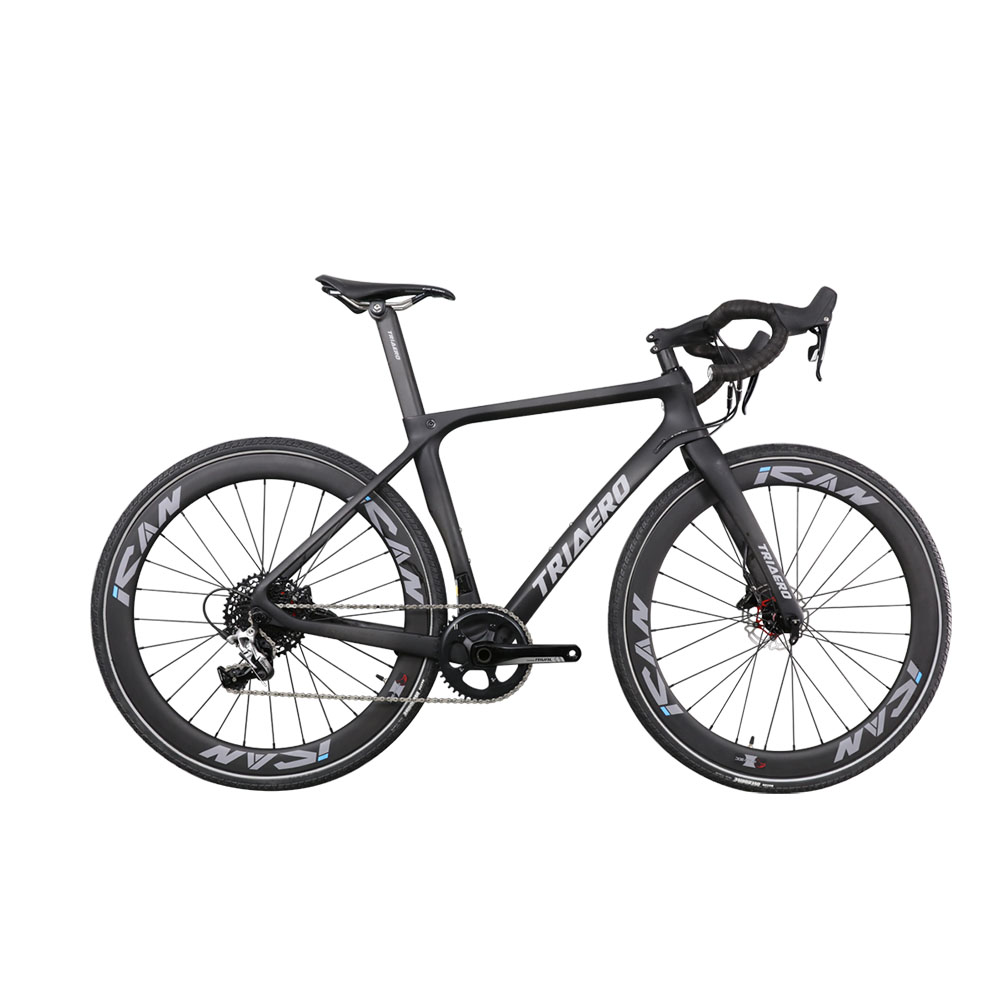 ICAN Newest Triaero Full Carbon Road Flat Mount Disc Brake Bike 700C Wheelset Max Tire 38mm PF30 With 142*12mm Axle