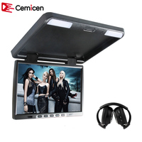 Cemicen 17 Inch HD Car Flip Down 1440*900 TFT LCD Monitor Roof Mount Player IR Transmitter Adjustable View Screen Dome LED Light