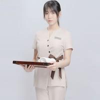 New beauty salon work clothes female fashion temperament summer beautician short sleeve thin SPA health club split suit