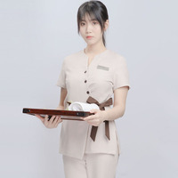 New beauty salon work clothes female fashion temperament summer beautician short sleeve thin SPA health club split suit