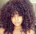 Short Afro Kinky Curly Wig synthetic Wig Kinky Curly Glueless Wig With Bangs Baby Hair