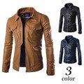 2015 новые прибытия мотоцикла кожаная куртка тонкий мужчины личности карман в юбке двойной карман jaqueta де couro masculina