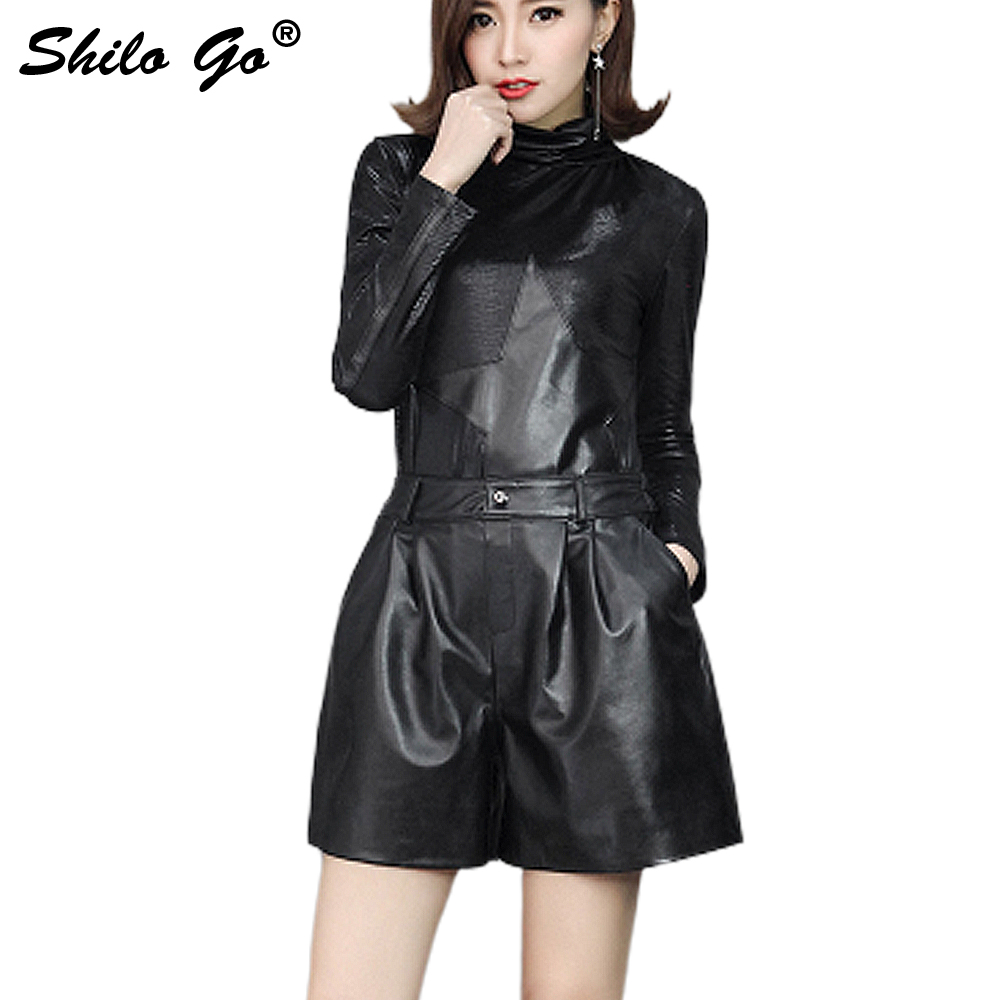 Leather Shorts Womens Autumn Fashion Sheepskin Genuine Leather Shorts Concise Stretch High Waist Loose Wide Leg Shorts