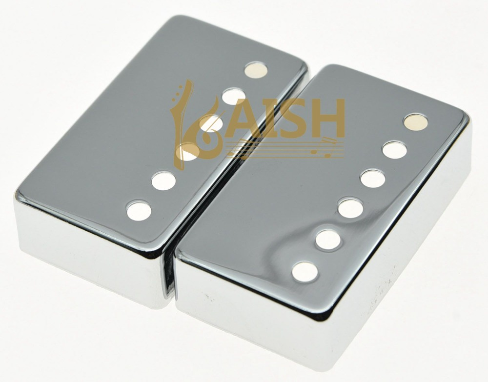 KAISH Set of 2 Metal Humbucker Guitar Pickup Cover Covers Chrome fits LP kaish 50mm pole spacing st guitar single coil pickup covers chrome