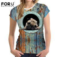 FORUDESIGNS T Shirt Women 2017 Newest Summer Plus Size 3D Funny Pug Printing French Bulldog T