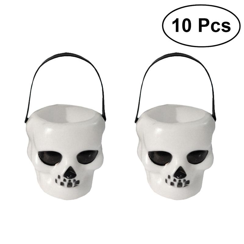 LUOEM 10pcs Candy Bucket Trick Or Treat Halloween Skull Heads Shaped Skeleton Candy Pail Holder Bag With Carry Handle For Kids