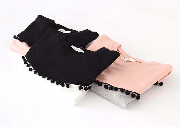 HTB1xPu3IpXXXXX XpXXq6xXFXXXJ - Children Girls shirt tops 2017 Spring Fashion Color patched 100% cotton knitted Snow Ball long-sleeved loose shirts for girls