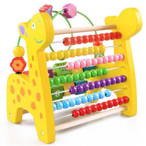 Jouets éducatifs multifonctionnels pour enfants animaux autour du rabat de perles support informatique en bois arithmétique jouets d'apprentissage précoce - 6
