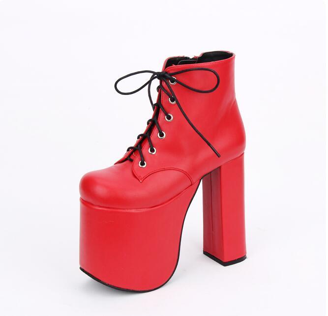 aa1f0cb8bfe78 Haute 47 Mince Chaussures Lolita Fille Bottes Punk 33 Super Lady Mori Noir  Mentions Pompes Légales red Talons Cheville Robe Femme Parti Angéliques ...