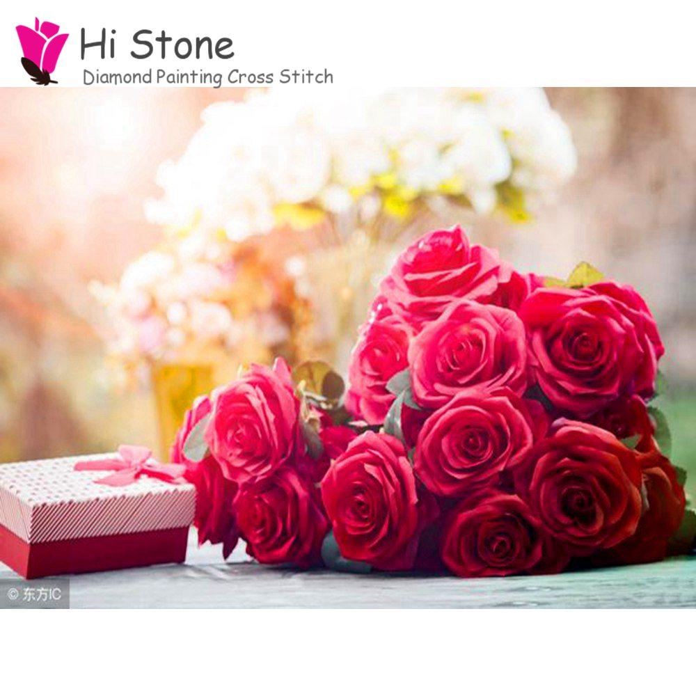 5D DIY алмаз вышивка крестиком рукоделие Подарочная коробка и розы полный квадратный мозаики алмаз живопись кристаллы Декор