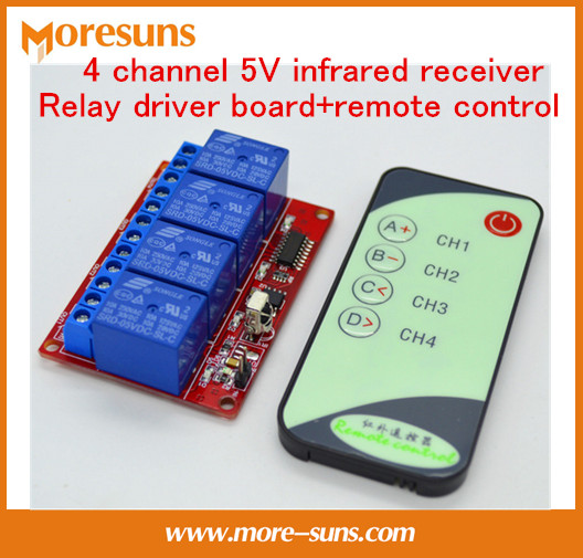 5PCS 4 CH 5V infrared receiver Relay driver board+remote control/4CH Infrared transceiver suite/infrared remote control switch