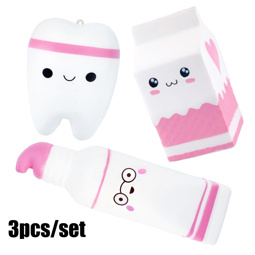 Anti-stress 3pcs Soft Squish Milk Cute Squishy Set Jumbo Tooth Toothpaste Slow Rising Cube Anti-Stress Squish Toy For Kids Adul