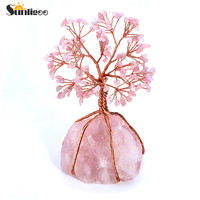 Sunligoo Natural Rose Quartz Tumbled Stones Money Tree Feng Shui Wealth Ornament Tree of Life Healing Crystals Reiki Decoration